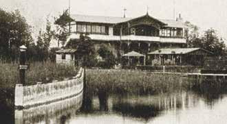 Das Rieder-Haus, das der KBYC 1911 als Clubheim erworben hatte, auf einer Abbildung etwa aus dem Jahre 1890: Pavillons stehen auf dem Gelände zum See hin, das erst nach dem Kauf vom Club aufgeschüttet wurde. Foto: Archiv G. Schober