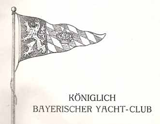 """Der Stander des nun """"Königlich"""" Bayerischen Yacht-Clubs."""