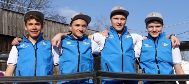 Steuermann Felix Kaiser, Nico Jansen, Nic Corsi, Lupi Lindner